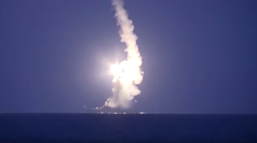 Kalibr cruise missile being launched from a Russian ship in Caspian